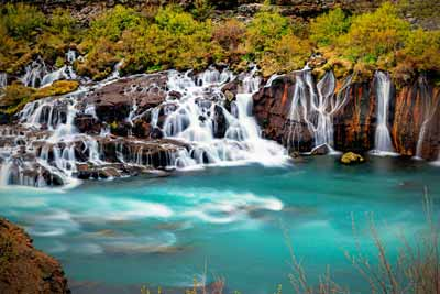 Hraunfossar waterfalls in west Iceland