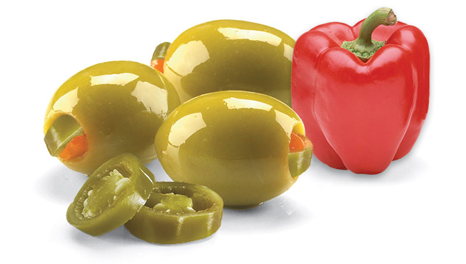 Jalapeño & Red Pepper Stuffed Olives Image