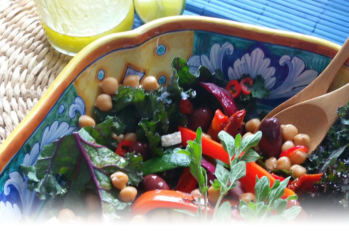 Mediterranean Grilled Veggies and Kale Salad Image