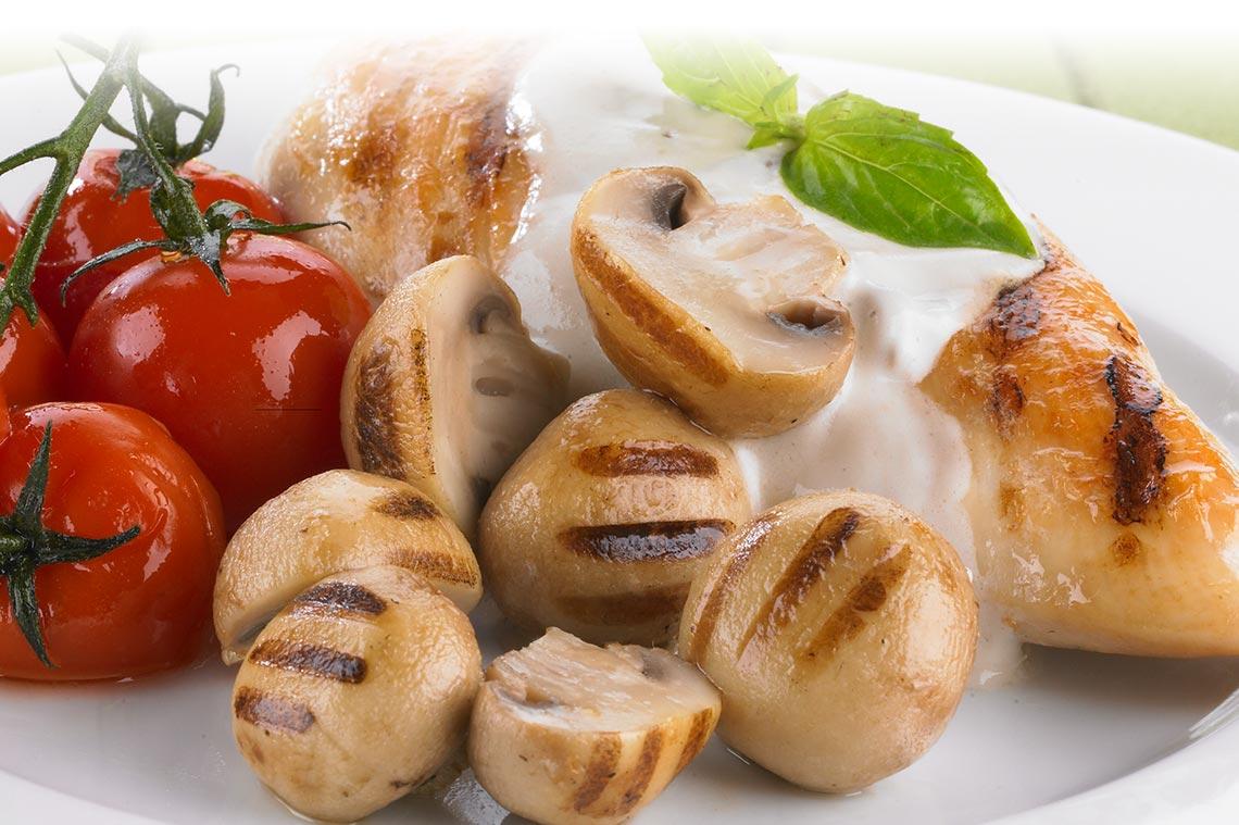 Chicken and Grilled Mushroom Entrée Image