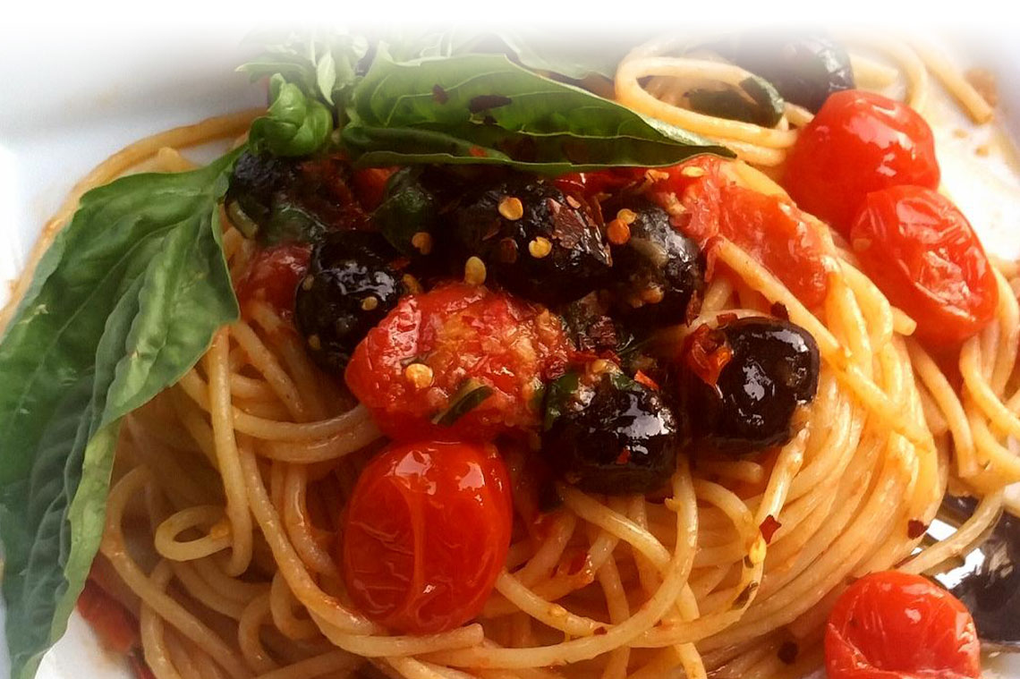 Pasta with Tomatoes and Olives Image