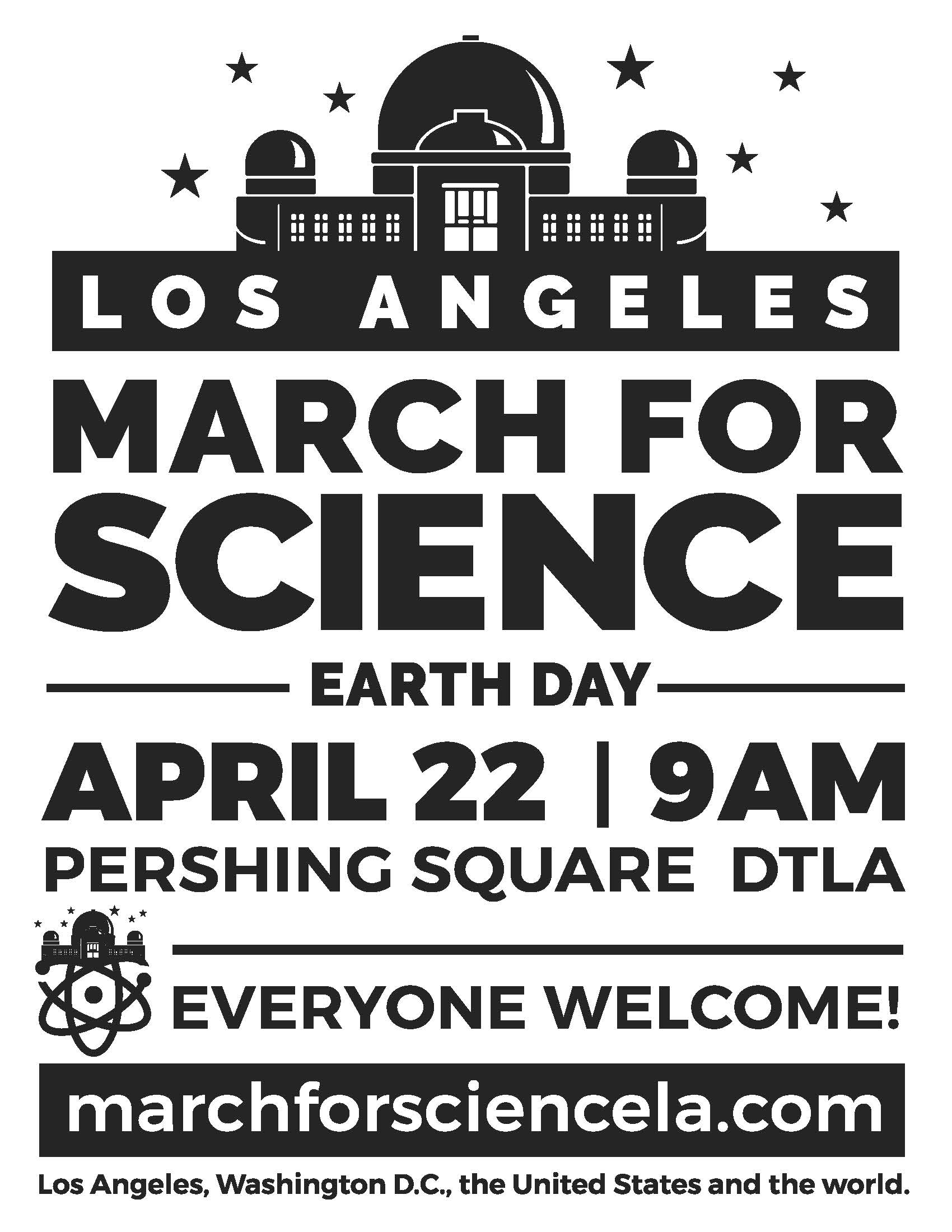 March For Science LA Media Assets - Los angeles poster black and white