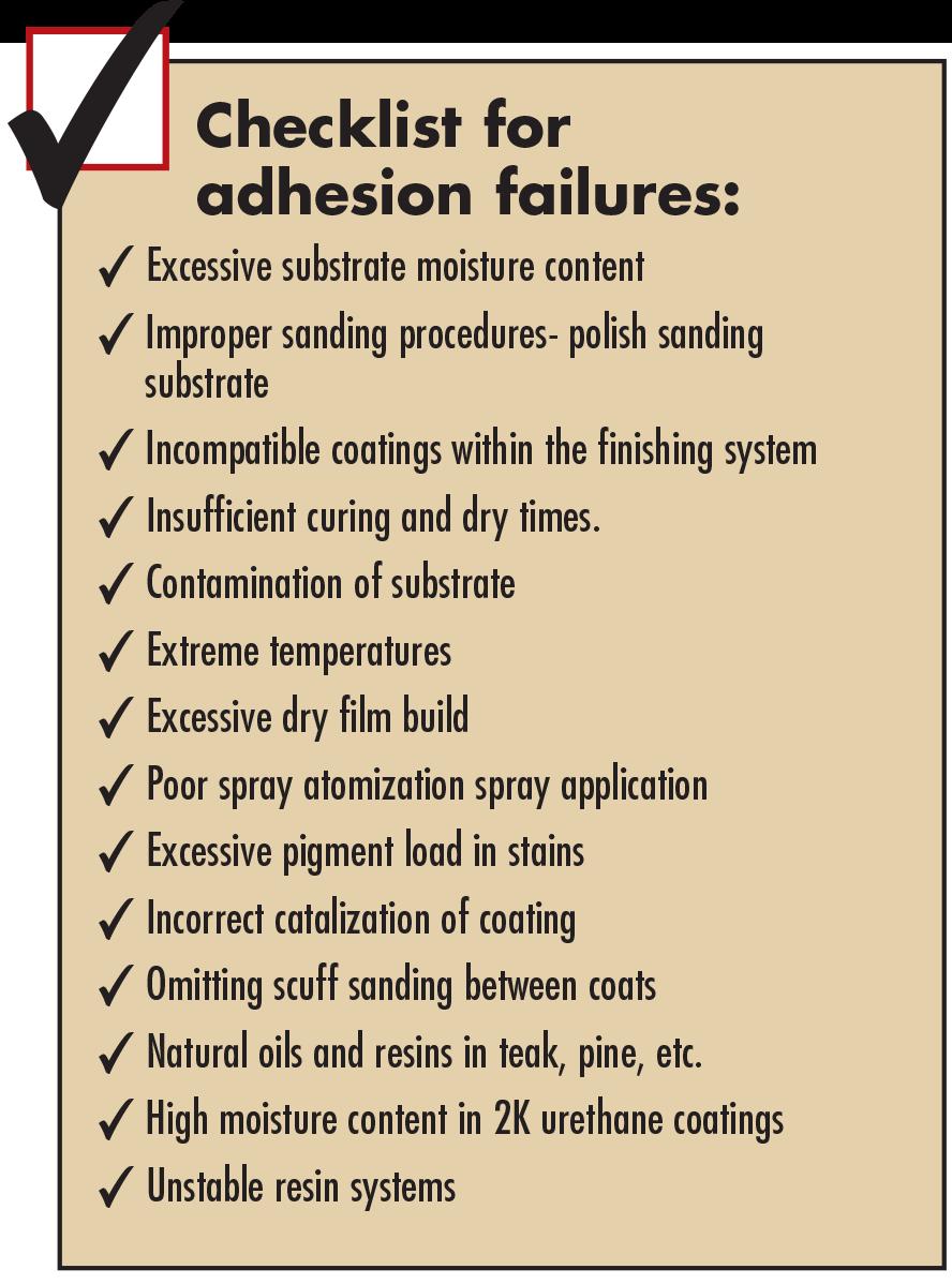 "Illustration/list—""Checklist for adhesion failure"""