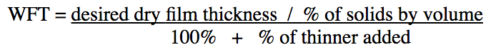 Image displaying the formula for determining correct wet film thickness (with thinner)