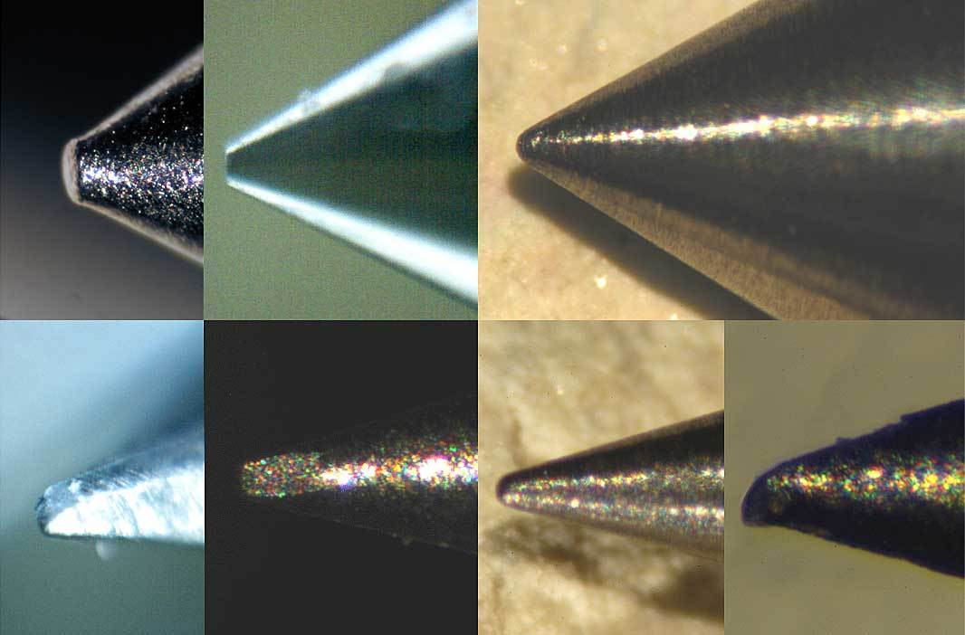 Image of lo and hi res photos of various depth micrometer probe tips
