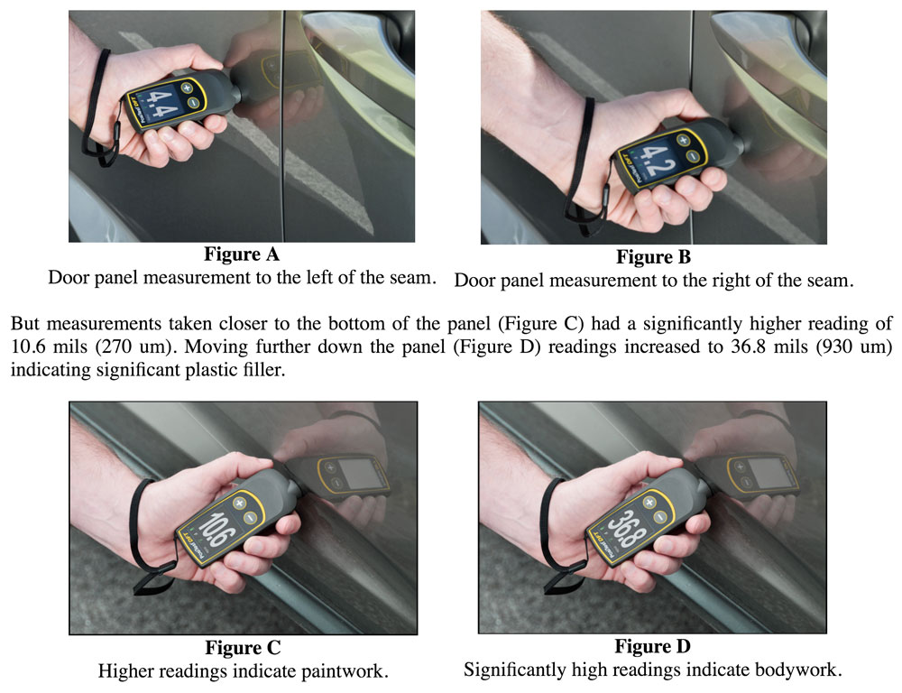 Photos and figures comparing measuring paint thickness on different parts of a car to detect body rework