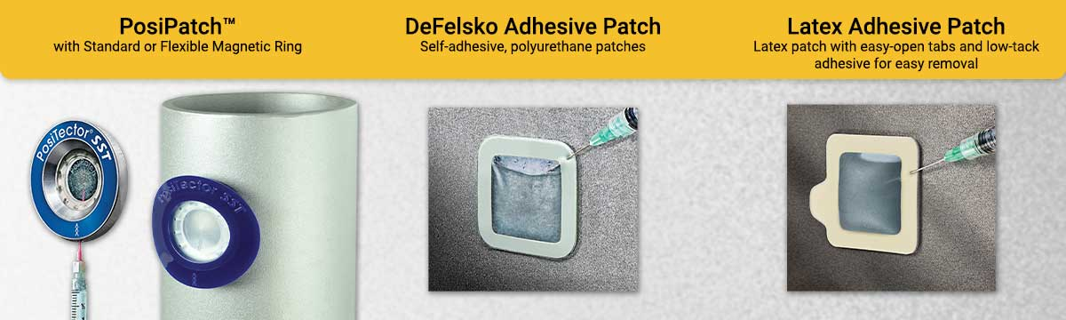 Image displaying three Bresle method patch options. PosiPatch, DeFelsko Adhesive Patch, and a Latex Adhesive Patch