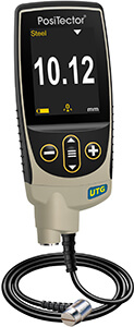 Image of a PosiTector gage body next to multiple probe types showing compatibility and interchangeability