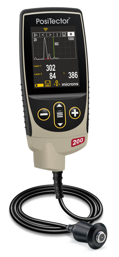 Image of the PosiTector 200 with a graph measurement on screen