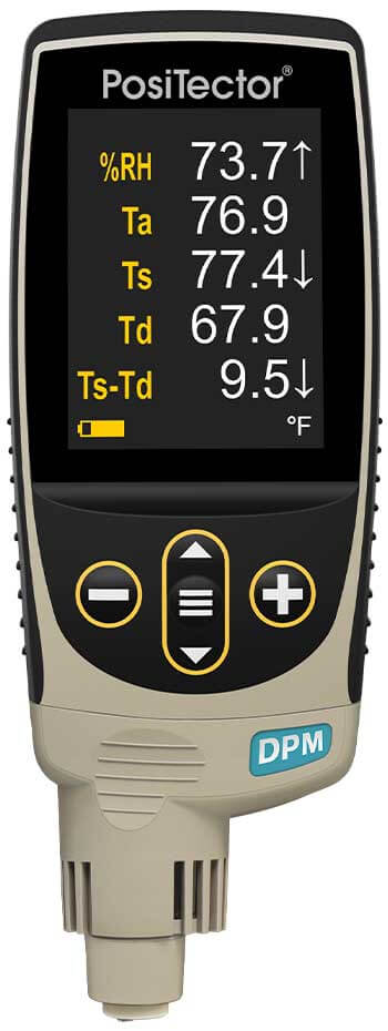 Straight-on product photo of the PosiTector DPM Dew Point Meter