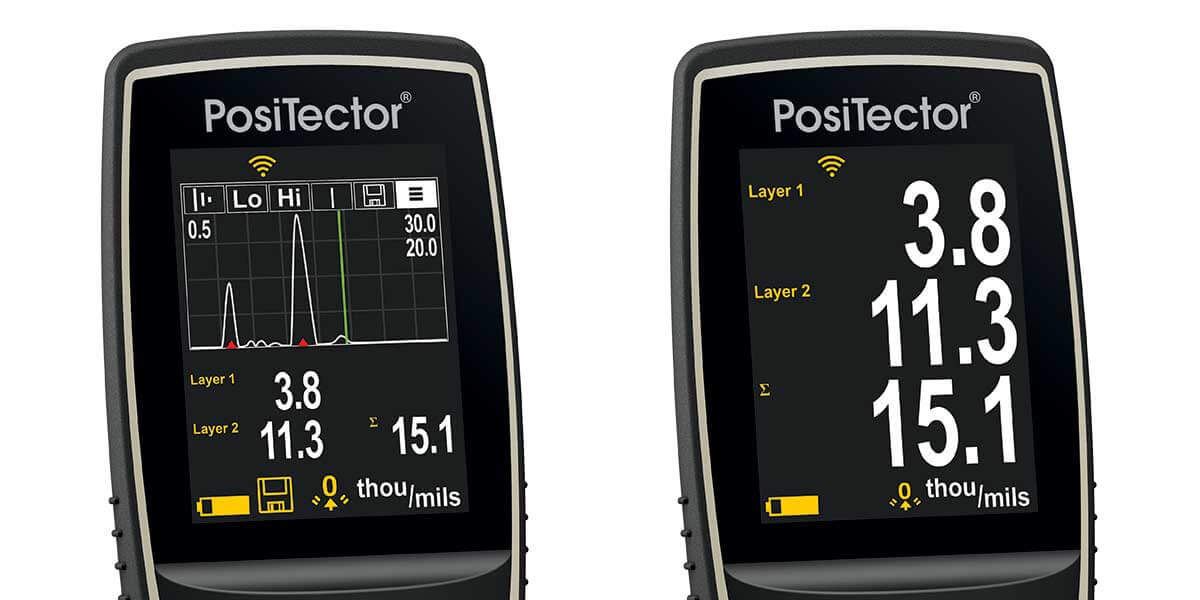 Image shows the PosiTector 200 display with Graphics Mode on and off. On to the left, off to the right.