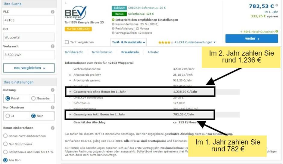 Strompreisvergleich in Wuppertal wir sehen die Preisdetails des BEV Tarifs auf Check24
