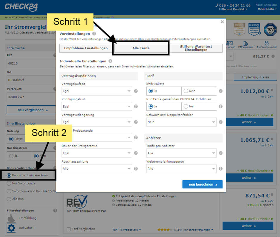 Filtereinstellunge auf Check24 beim Stromanbieterwechsel in Düsseldorf wenn man den Bonus nicht einberechnen möchte
