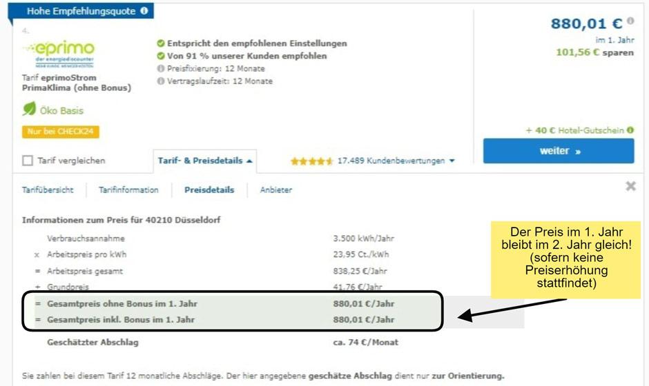 Preisdetails des Stromtarifs von eprimo in Düsseldorf beim Stromanbieter wechseln