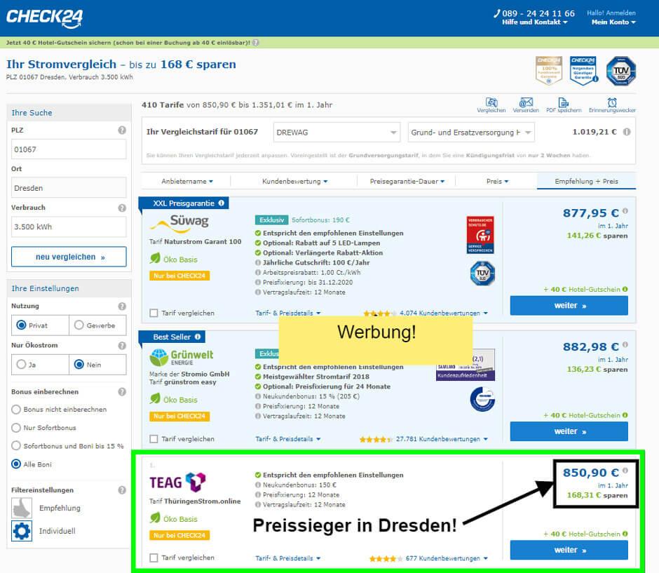 Strom-Preisvergleich Kamikaze Ergebnis in Dresden der Preissieger auf Check24 ist die TEAG mit rund 170 € Ersparnis