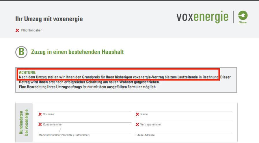 Beispiel Gasvergleich Vox Energie PDF Sonderkündigung bei Umzug