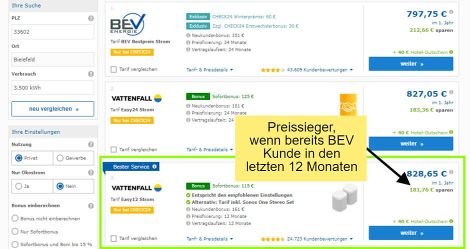 Strompreisvergleich Kamikaze findet mit der BEV den günstigsten Stromtarif in Bielefeld - aber entscheidet sich für dieses Beispiel für Vattenfall