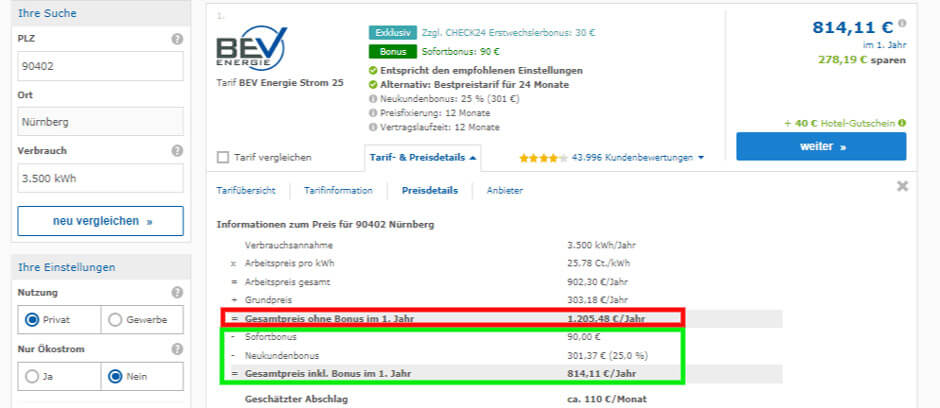 Strompreisvergleich Nürnberg BEV Energie Check 24 Preisdetails