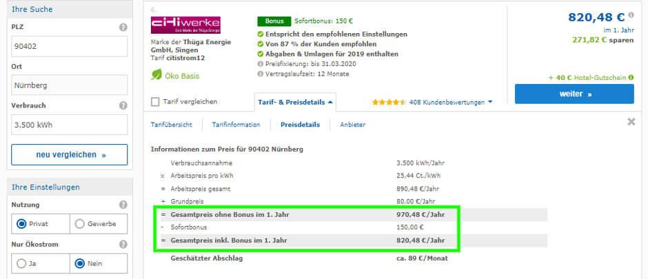 Strompreisvergleich in Nürnberg, Preisdetails des günstigen Stromtarifs der Citiwerke