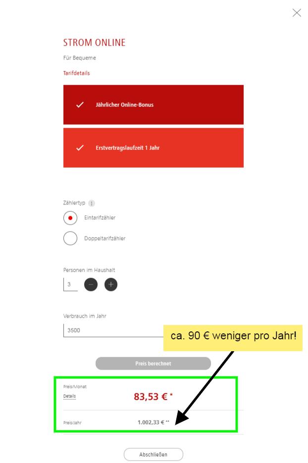 Screenshot der Webseite N-ERGIE in Nürnberg, günstige Stromtarif Alternativen