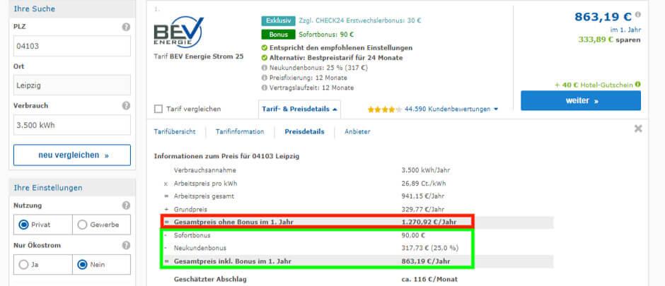 Strompreisvergleich Leipzig Check24 Preisdetails des BEV Energie Stromtarifs