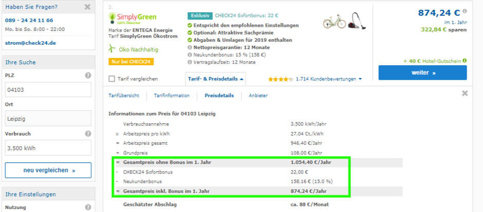 Strompreisvergleich Leipzig Check24 Tarifdetails Entega Stromtarif