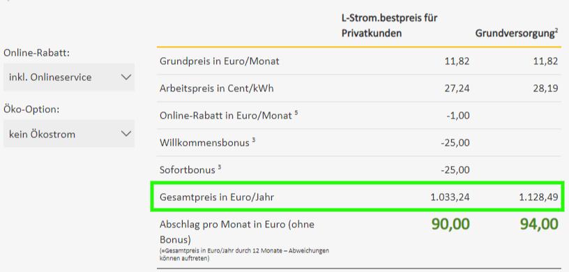 Preisdetails des Stromtarifs der Leipziger Stadtwerke