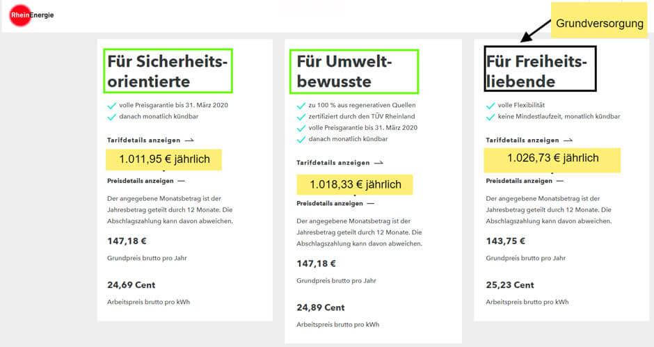 RheinEnergie Stromanbieter wechseln Beispiel: günstige Stromtarife in Köln beim lokalen Grundversorger