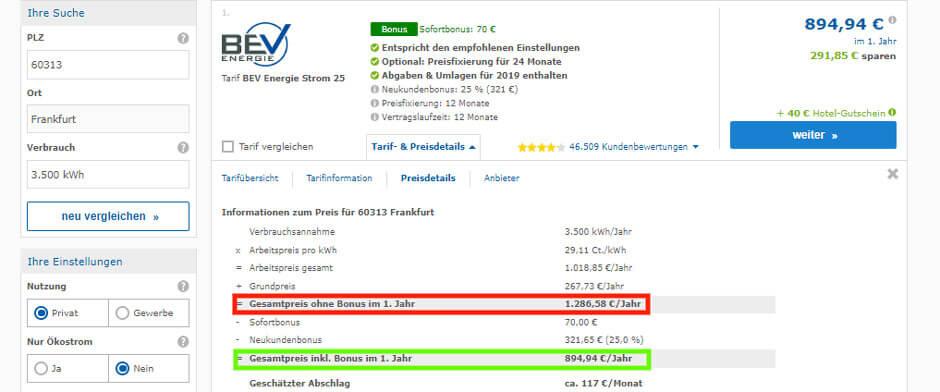 Strompreisvergleich in Frankfurt am Main  Preisdetails des Preissiegers BEV Energie Stromtarif
