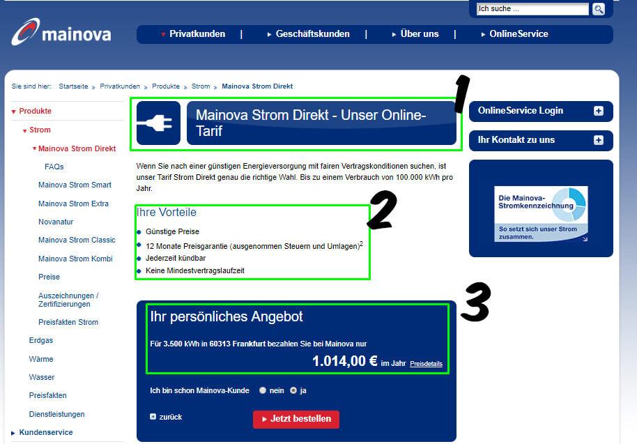 Stromanbieter wechseln in Frankfurt am Main: auf der webseite von Mainova günstige Stromtarife finden
