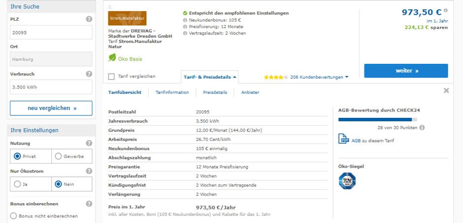Tarifdetails von Strom.Manufaktur beim Strompreisvergleich in Hamburg