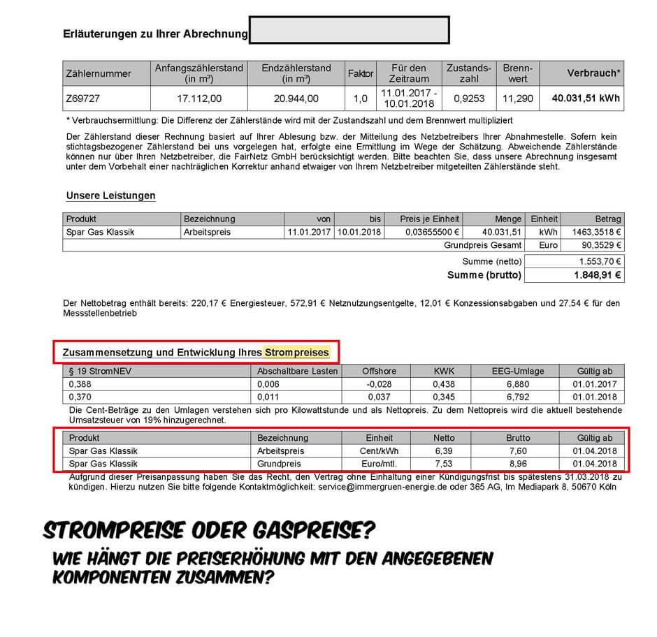 Gasvergleich Immergrün Preiserhöhung Schlussrechnung Seite 2