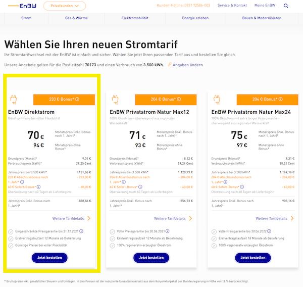 Die drei Angebote von EnBW zum Stromanbieter wechseln in Stuttgart. Das günstigste Angebot befindet sich ganz links.