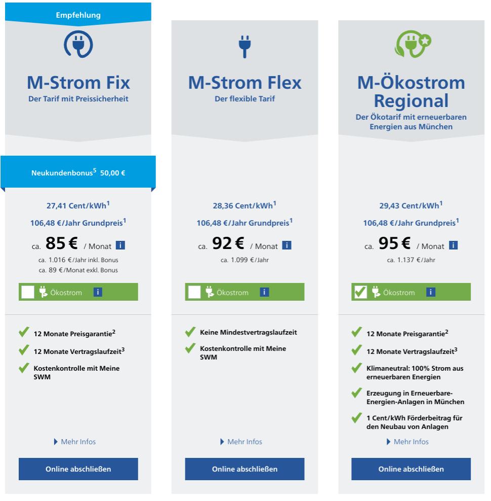 Vermeider haben beim Strompreisvergleich in München die Wahl zwischen diesen Angeboten von Stadtwerke München.