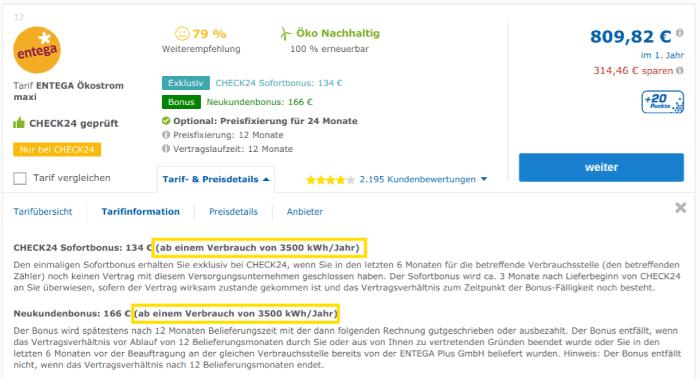 Augen auf beim Strompreisvergleich in Cottbus: Die genauen Informationen zum Mindestverbrauch finden sich bei Check24 erst unter dem Reiter Tarif- & Preisdetails