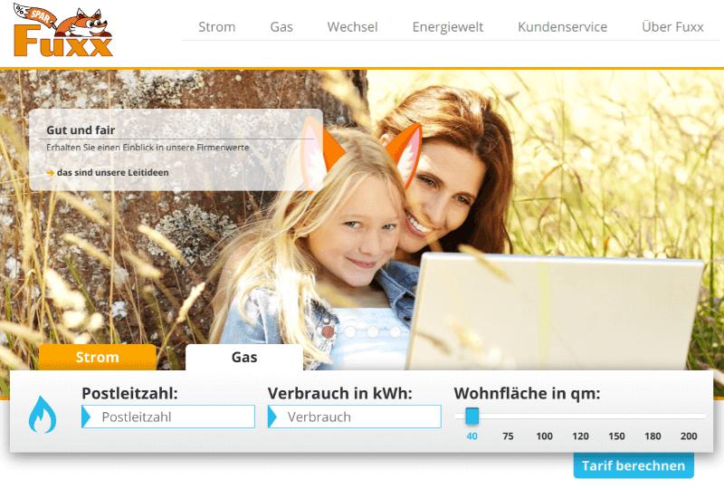 """Screenshot der Homepage des Gasanbieters """"Fuxx - Die Sparenergie"""""""