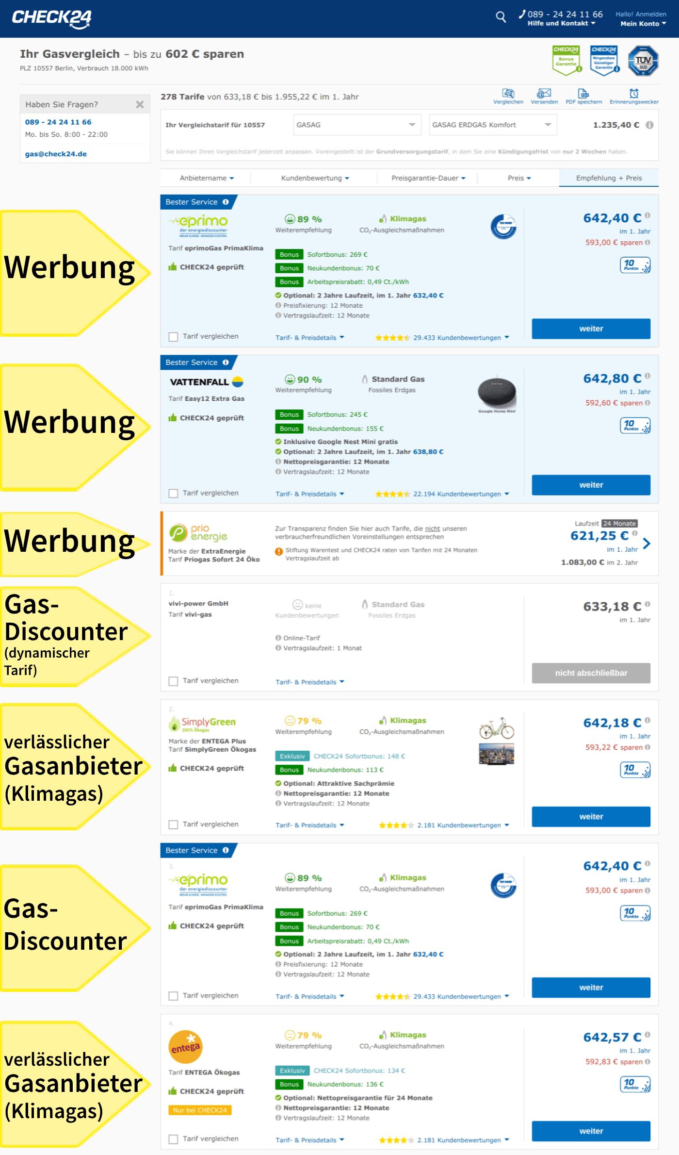 Gaspreisvergleich Berlin Vergleichsportal Check 24 Liste Gastarife