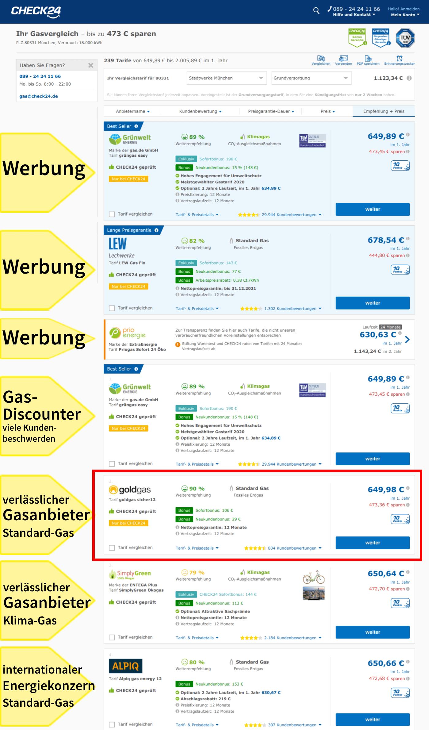 Gasanbieterwechsel Hamburg Gastarife jährlicher Wechsel Vergleichsportal Check 24