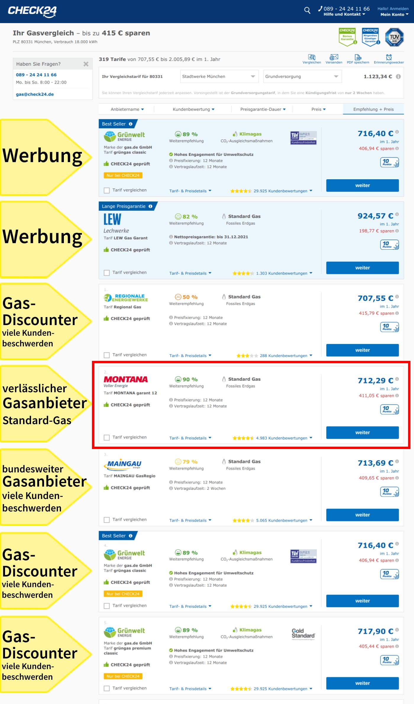 Gasanbieterwechsel München Gastarife einmaliger Wechsel Vergleichsportal Check 24