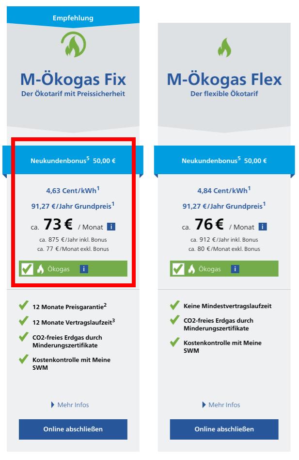 Gasanbieterwechsel München Stadtwerke München Gastarife M-Ökogas Fix und M-Ökogas Flex