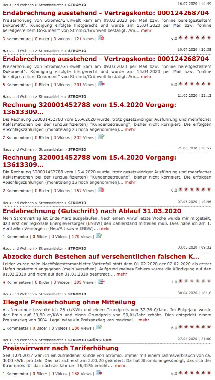 Gaspreisvergleich Hamburg, Kundenbeschwerden zum Strom- und Gasanbieter Stromio auf Reclabox