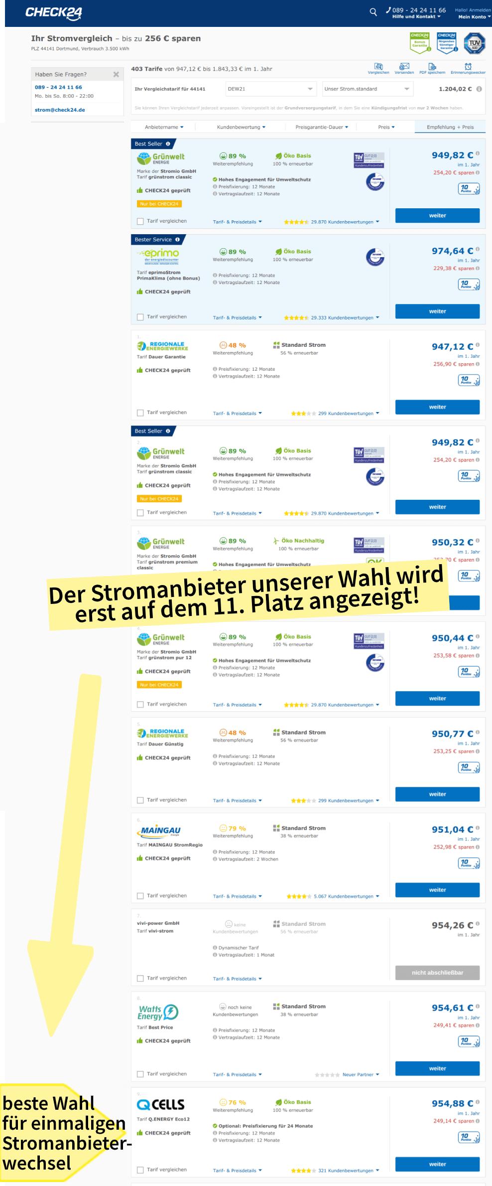 Die Ergebnisse bei Check 24 für einen einmaligen Wechsel des Stromanbieters in Dortmund