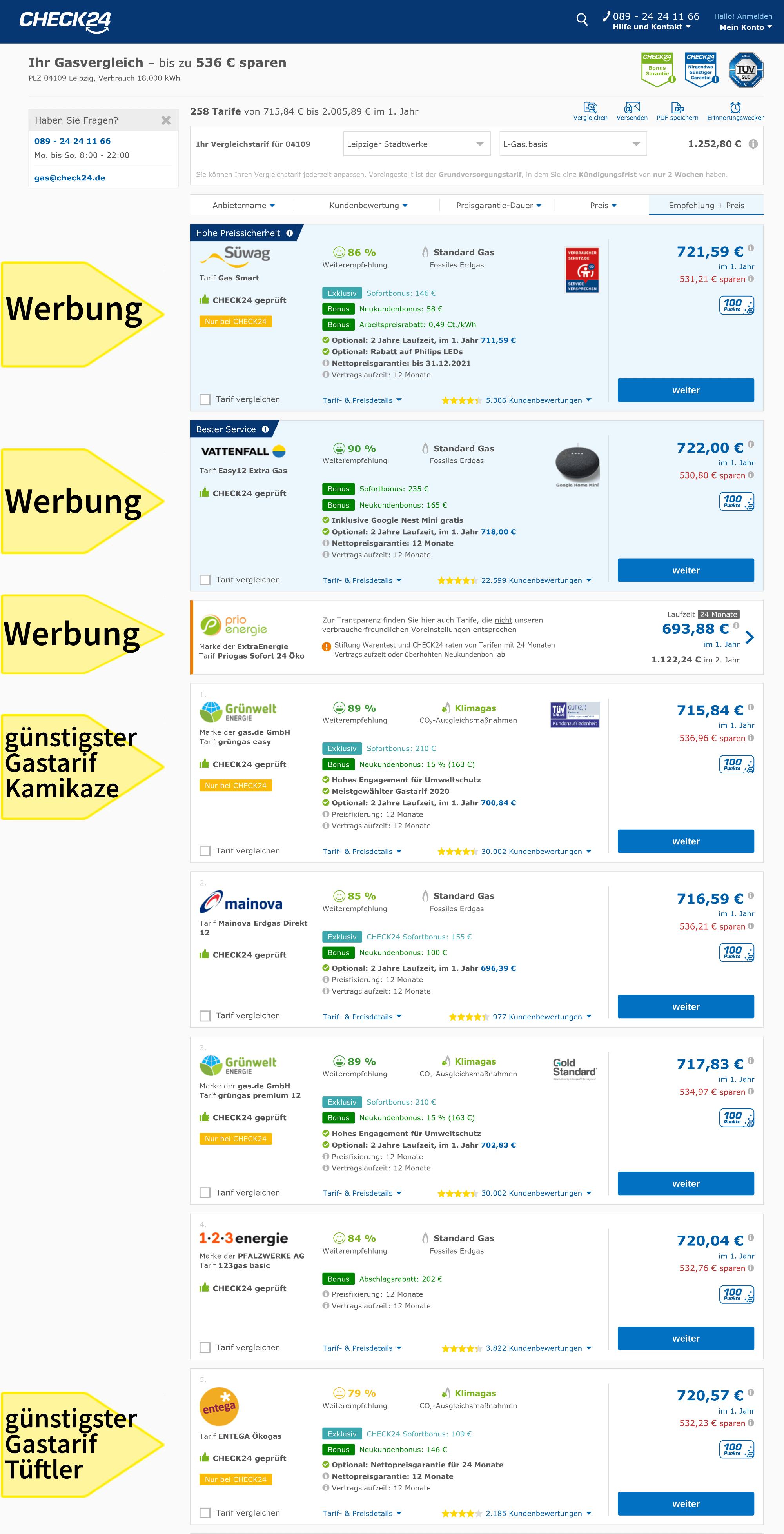Gaspreisvergleich Leipzig Vergleichsportal Check 24 günstige Gastarife