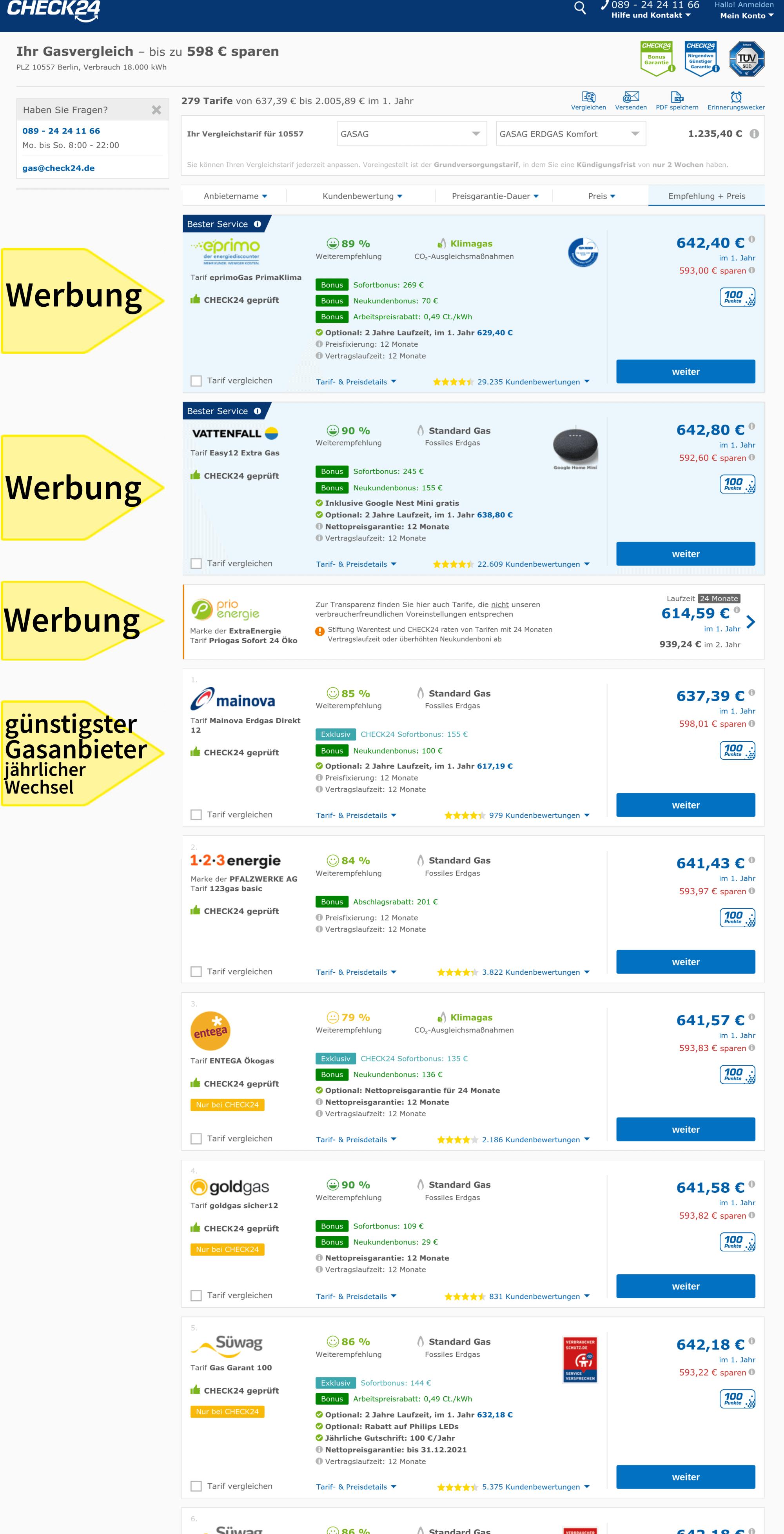 Gasanbieter wechseln in Berlin: günstige Gastarife, Gasanbieter jährlich wechseln, im Vergleichsportal Check 24