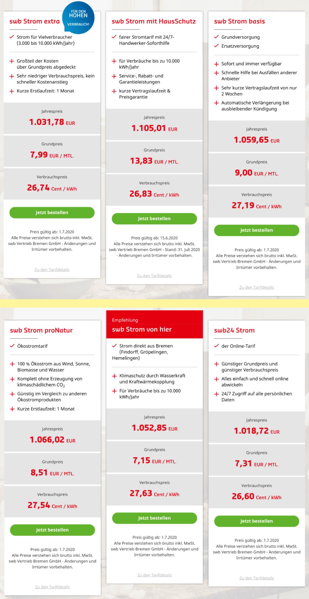 Stromtarif wechseln in Bremen - die Stromtarife vom Strom-Grundversorger swb Bremen
