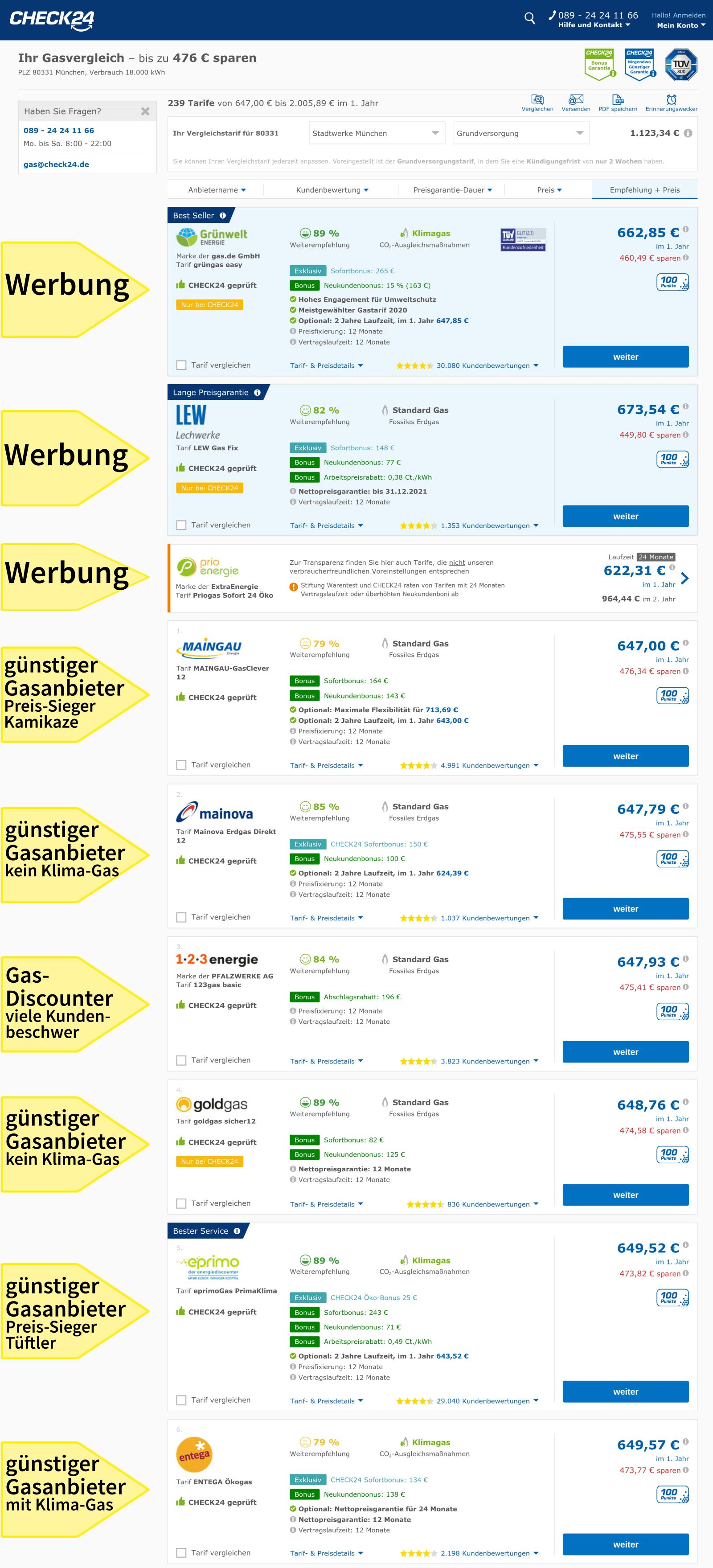 Gaspreisvergleich München, günstige Gastarife, Vergleichsportal Check24