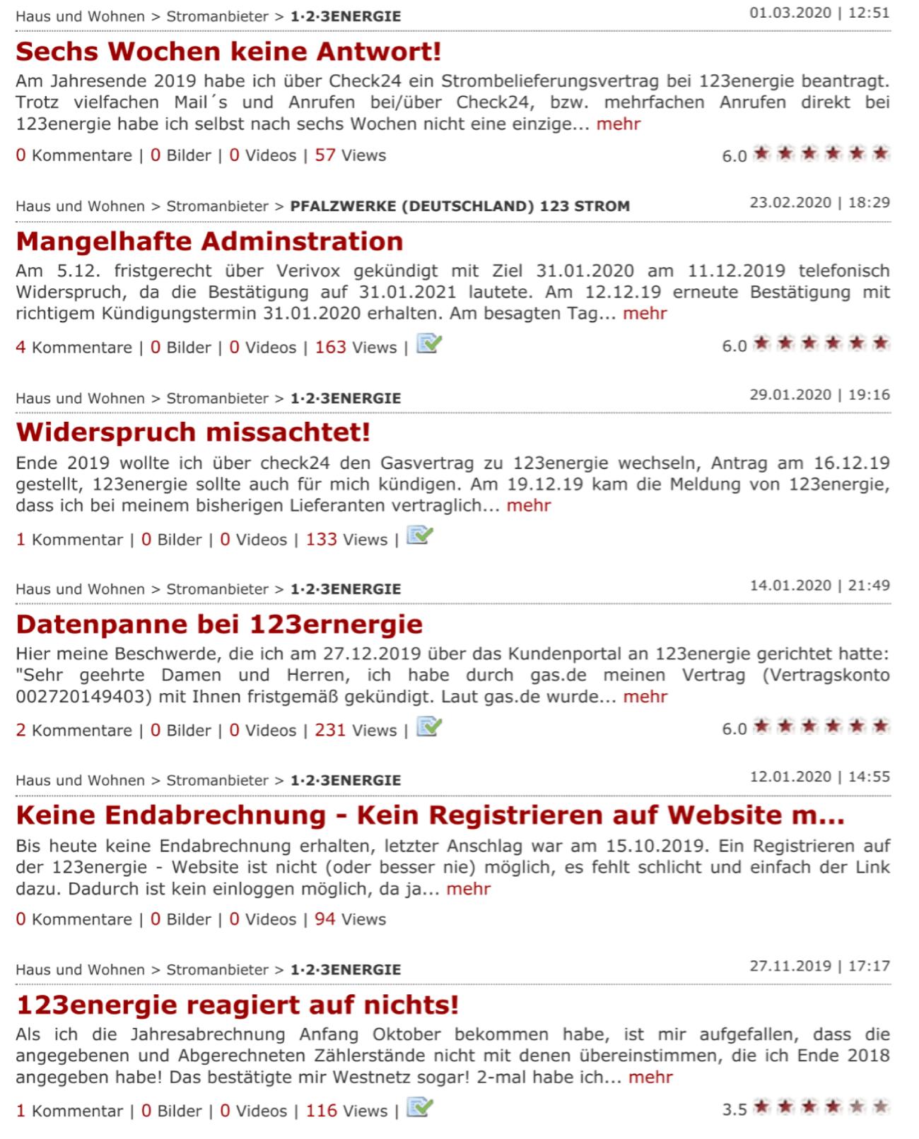 Gaspreisvergleich München, Kundenbeschwerden zum Gasanbieter 123 Energie auf Reclabox