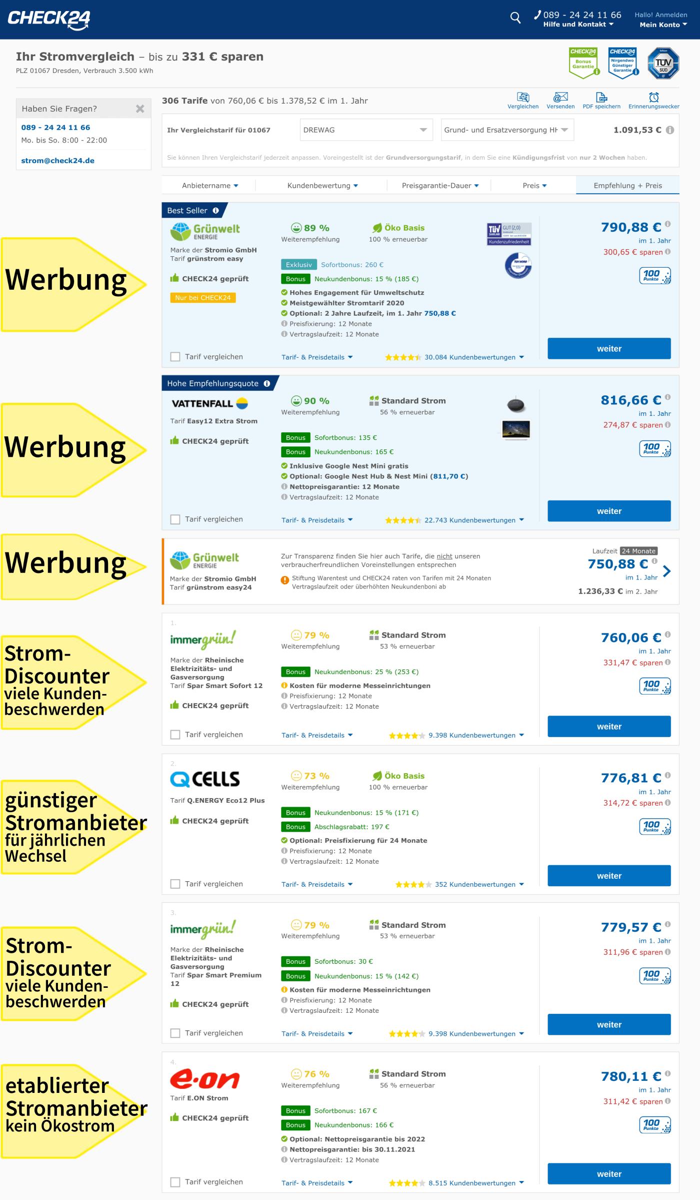 Stromanbieter jährlich wechseln in Dresden, Ergebnisse im Vergleichsportal Check24