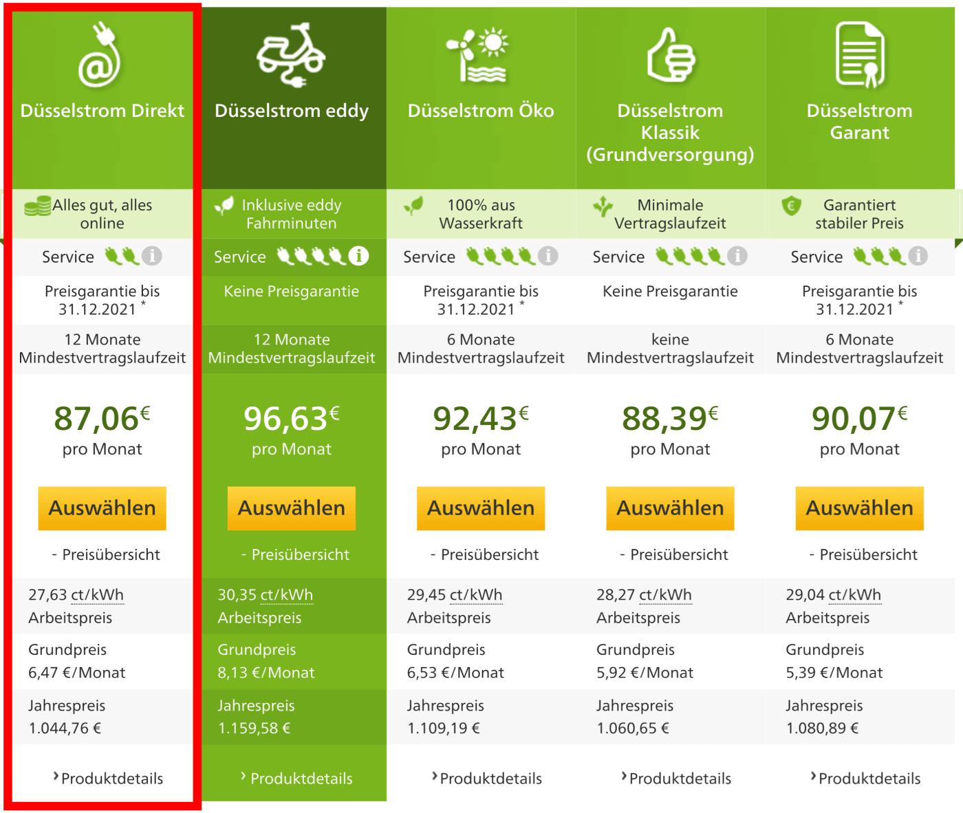 Strompreisvergleich Düsseldorf - alternative Stromtarife vom Grundversorger Stadtwerke Düsseldorf