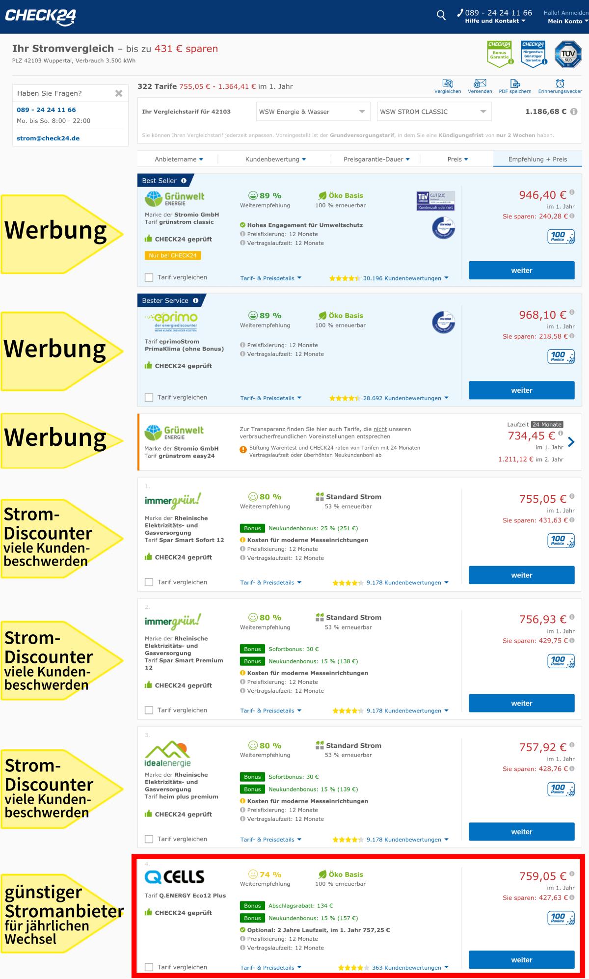 Stromanbieter jährlich wechseln in Wuppertal Vergleichsportal Check24 günstige Stromanbieter